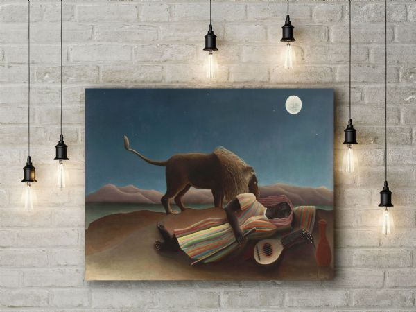 Henri Rousseau: Sleeping Gypsy. Fine Art Canvas.